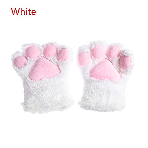 ZHANGYUGEGE Süße Plüsch Katze Kätzchen Paw Handschuhe Anime Cosplay Cat Claw Party Halloween Kostüm weiche Winter warm Fashion Dekor Handschuhe, Weiß