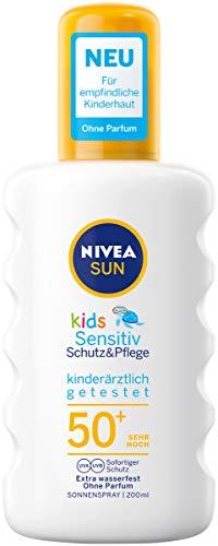 NIVEA SUN Kids Sensitiv Sonnenspray im 1er Pack (1 x 200 ml), Spray mit LSF 50+, Sonnenlotion für empfindliche Kinderhaut - Feste Creme