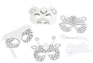 masken tiere zum dekorieren r ckseite zum ausmalen 24 st ck spielzeug. Black Bedroom Furniture Sets. Home Design Ideas