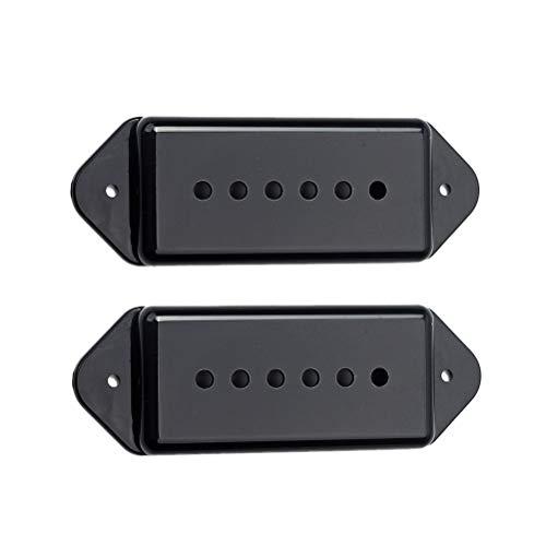 Artibetter 2 Sätze Guitar Bridge Neck Pickup Cover für Gibson P90 P-90 E-Gitarre Zubehör Teile (Schwarz) 50mm 52mm