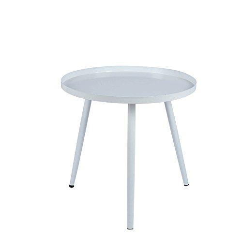 ETYRSD Nordic schmiedeeisen kleinen couchtisch einfache Moderne Wohnzimmer Mini Economy Schlafzimmer einfache runde kleine Tisch kleine Wohnung Klapptisch (Color : White, Size : 40 * 40 * 42cm)