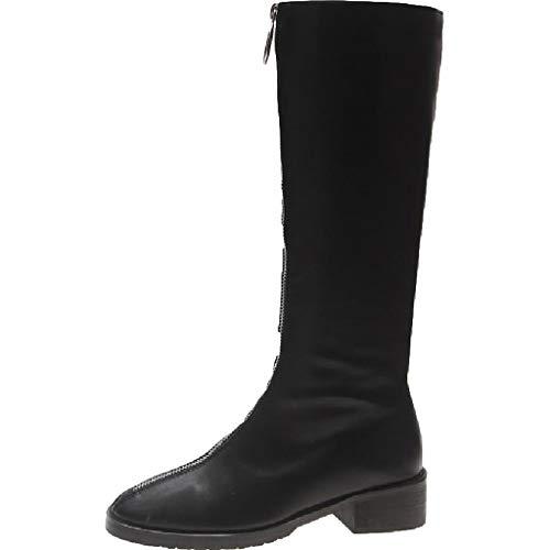 SDSDCC boot Damenstiefel Neue schlanke kniehohe Stretch lange Stiefel Kalb flach niedrigen Ferse Reißverschluss hohe Stiefel Damen PU Leder Reiten Freizeitschuh schwarz,Black-5UK/37EU -