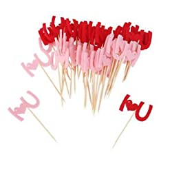 ELECTROPRIME 50x I LOVE U Pattern Picks Felt Fabric Toothpick Food Cupcake Toppers Decor