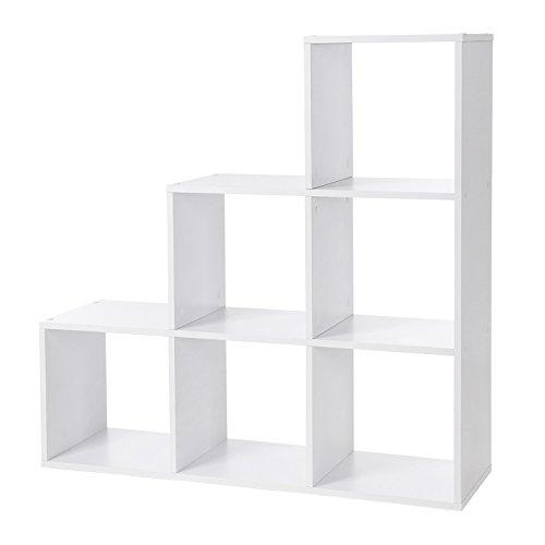 SONGMICS Bücherregal, Treppen-Regal, 6 Würfel-Fächer, Ausstellungsregal aus Holz, freistehendes Regal, Raumteiler für Büro, Wohnzimmer, Schlafzimmer, Weiß, LBC63WT Schlafzimmer Bücherregal