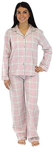 PajamaMania Women's Sleepwear Flannel Pyjamas PJ Set Pink & Grey