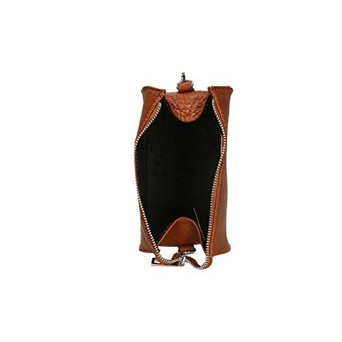Chicca Borse Frau Clutch Umhängetasche in echtem Leder Made in Italy 18x10x10 Cm Leder