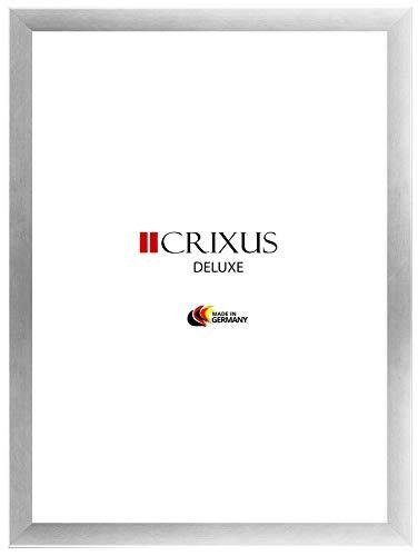 CRIXUS Deluxe Bilderrahmen für 85 cm x 60 cm Bilder, Farbe: Alu Silber gebürstet, mit Acrylglas Kunstglas 1mm (Bruchsicher), Rahmenbreite 38 mm