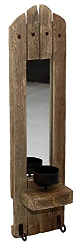 Rustic Wooden Wall Candle Holder With