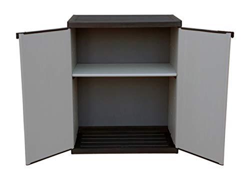 Adventa - Armario bajo de Resina con estantes de 2 Puertas (Interior/Exterior),...