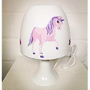 ✿ Tischlampe ✿ EINHORN 3 Unicorn Pferdchen Schmetterling Blume Glitzer Strass silber personalisiert Name ✿ Tischleuchte ✿ Schlummerlicht ✿ Nachttischlampe ✿ Lampe ✿