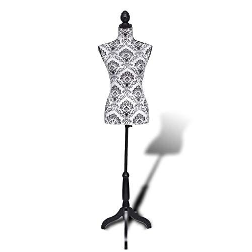 vidaXL Damenbüste Schneiderpuppe Büste Torso Angezogen Mannequin schwarz/weiß -
