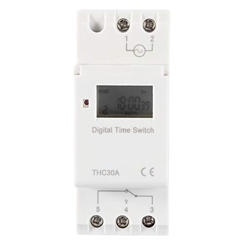 THC Programmierbare Zeitschaltuhr Zeitrelais Digital LCD DIN 30A SCHIENE AC-DC 12/24/110 / 220V(24V) -