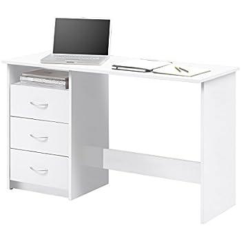 en.casa Schreibtisch 120x50x72cm Weiß//grau Bürotisch mit Schubladen PC Tisch