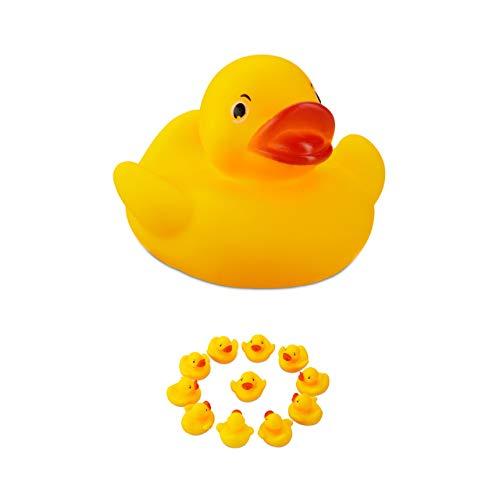 Relaxdays Badeente 5cm 12er Set, klassisches Quietscheentchen für die Badewanne, Badespielzeug für Groß und Klein, gelb
