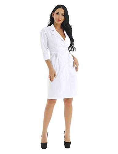 Alvivi Disfraces Enfermera Chica Mujer Vestido Blanco