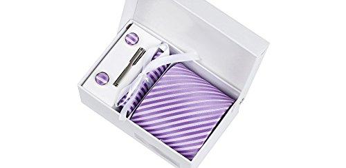 Coffret La Havane - Cravate mauve à rayures blanc satiné, boutons de manchette, pince à cravate, pochette de costume
