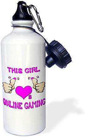 GFGKKGJFD624 - Borraccia Sportiva in Alluminio con Scritta This Girl Loves Online Gaming, per Uomini, Donne, Bambini, Regali di Natale