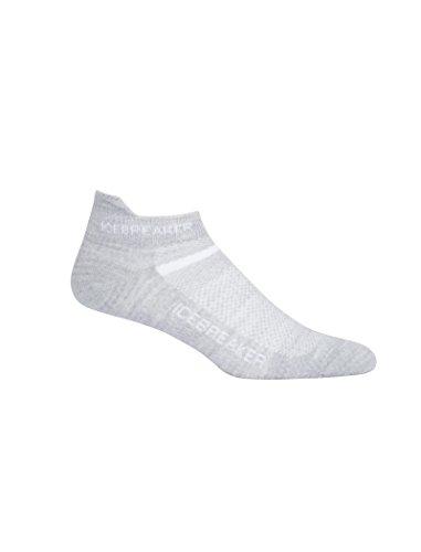 Icebreaker Damen Multisport Ultra Light Micro Socken, Blizzard Hthr/White, L - Cushioned No-show-sport-socken