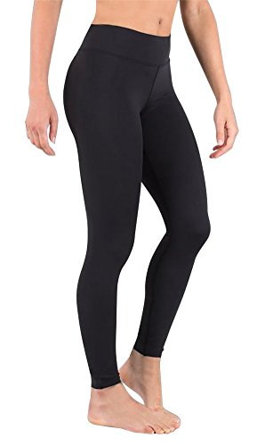 DeepTwist Damen Yoga Hosen Trainings Fitness Yogahose Sports Leggings Schwarz, UK-DT4002-Black-4 (Mitte Taille Hose Damen)
