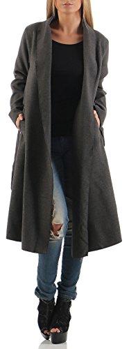 malito langer Mantel mit Wasserfall-Schnitt Cardigan 3050 Damen One Size Dunkelgrau