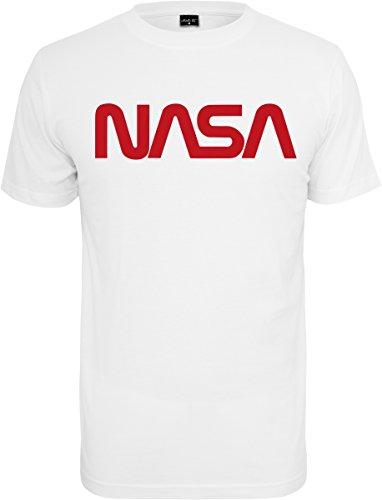 Mister té (misuq) Hombre NASA Worm tee–Camiseta, Hombre, MT626, Blanco, Large