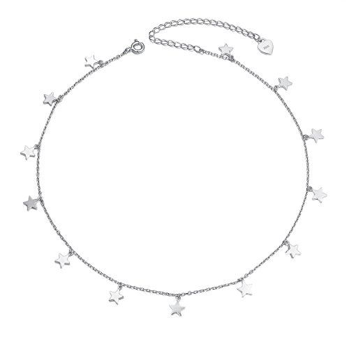 925 Sterling Silber Halskette Flyow Damen Anhänger Choker Kette Schmuck (Stern)