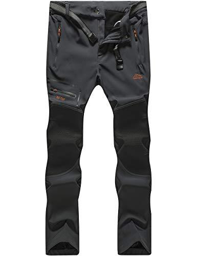 DENGBOSN Pantaloni Trekking Uomo Invernali Impermeabile Caldo Pantaloni Softshell Outdoor Pantaloni da Arrampicata Escursionismo,KZ1602-Grey2-M