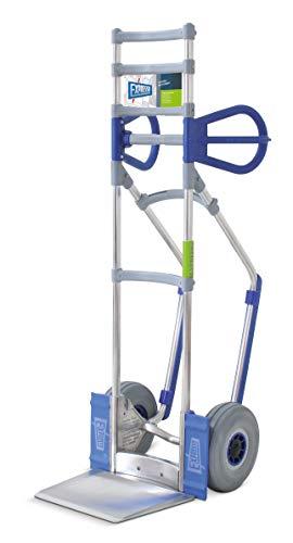 Vollmontierte EXPRESSO Alu Profi-Sackkarre mit Treppenrutsche/Tragkraft 260 kg/Räder Ø 26 cm sind AIRLEX-Reifen aus geschäumten Polyurethan/Ohrengriffe/Schaufel 24,5 x 22 cm/AE24381525