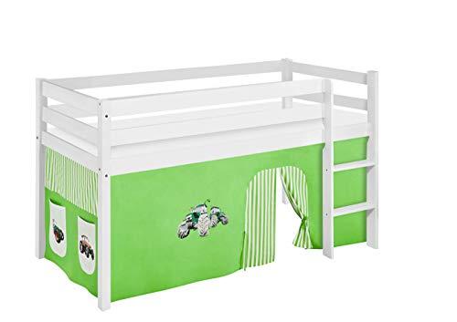 Lilokids Spielbett Jelle Trecker, Hochbett mit Vorhang Kinderbett, Holz, grün/beige, 208 x 98 x 113 cm