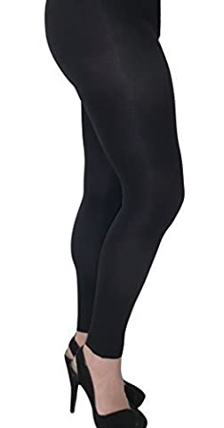 100 Denier Opaque Footless Tights. Black. Sizes: L-XXL (XL)