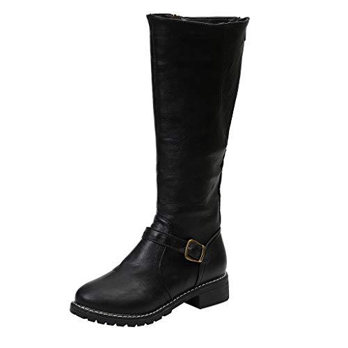 Yesmile Vintage Frauen Quadratische Fersen Reißverschluss Leder-Stiefel Halten warme Stiefel-runde Zehen-Schuhe Langschaftstiefel Wildleder Boots Schuhe Runder (Kostüm 4 Ferse)