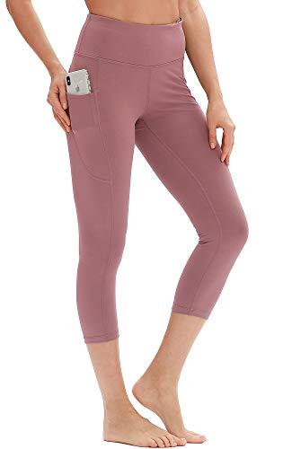 icyzone Damen Capri High Waist Yoga Pants 3/4 Fitness Leggings Sport Hose Training Tights (XL, Cameo Pink) Training Capri-hosen