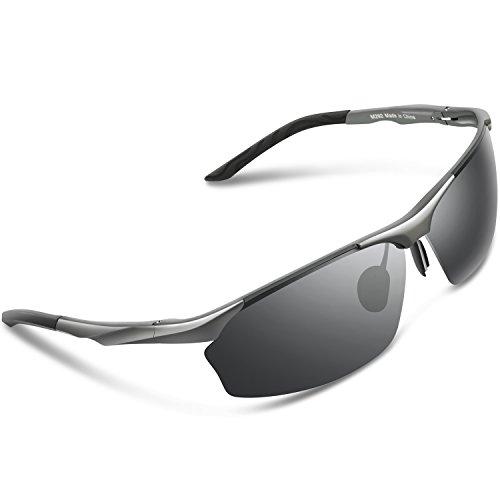 Lunettes de Soleil de sport polarisées Torege pour hommes femmes pour cyclisme course à pied pêche golf TR90cadre incassable TR010, Black/Grey&Grey lens