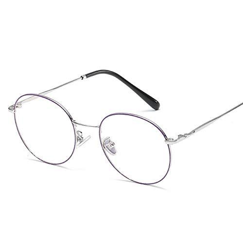 Herren Sonnenbrillen Retro Plain Glasses Literary Runde Rahmen Temperament Student Männer Frauen Brillengestell LTJHJD (Color : 02Sliver, Size : Kostenlos)