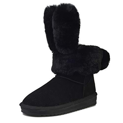 Ginli -30% orecchie di coniglio donne alla moda vera pelle metà polpaccio inverno stivali caldo pelliccia sintetica foderato stivali da neve