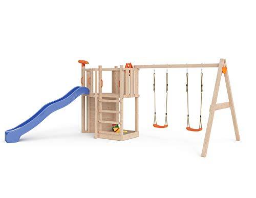 ISIDOR Little Star Spielturm Baumhaus Schaukel Kletterturm Rutsche 1,2 m Podest Inkl. Sandkasten, Kletterwand und Anbau-Auswahl! (einfacher Anbau)