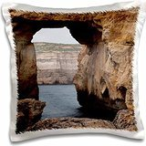 Rock Formations - Malta, Gozo, Dwejra, Rock Arch on Dwejra Bay 16x16 inch Pillow Case