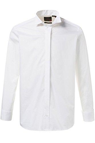JP 1880 Herren Große Größen bis 7 XL | Smokinghemd | Hemd in Weiß | 100% Baumwolle | Langarm, Stehkragen mit Kläppchen | Aufschlag-Manschetten | Bügelfrei | Weiß XL 706604 20-XL