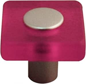 Bouton de porte et tiroir de meuble design en acrylique translucide rose, SQUARE