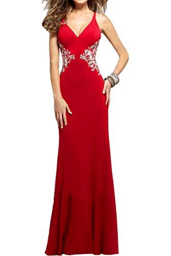 Ivydressing Damen Elegant V-Ausschnitt Traeger Applikation Schnuerung Partykleid Promkleid Festkleid Abendkleid Rot