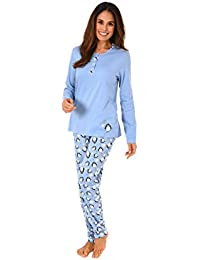 3ab982188c Creative by Normann Süßer Damen Pyjama Schlafanzug Langarm mit  Pinguin-Alloverdruck und Knopfleiste…