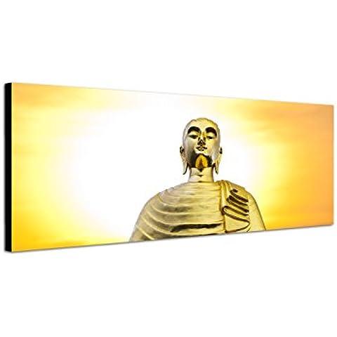 Pared Imagen sobre lienzo como panorámico en 150x 50cm Tailandia Buda Estatua puesta del sol