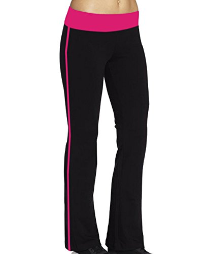 ABUSA Damen Flare Joga Fitness Hose lang Black+Rosered L (Cut Boot Flare)