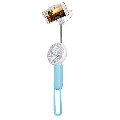 Anself - Multiusos 3en1 Mini Ventilador con Funciones de Palo de Selfie y 2200mAh Cargador Portátil, Mini Tamaño para Gran Usos