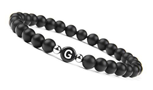 GOOD.designs Namenarmband aus schwarzen Onyxsteinen mit Buchstabenperlen von A-Z , Freundschaftsarmband für deine Liebsten (Buchstabe G)