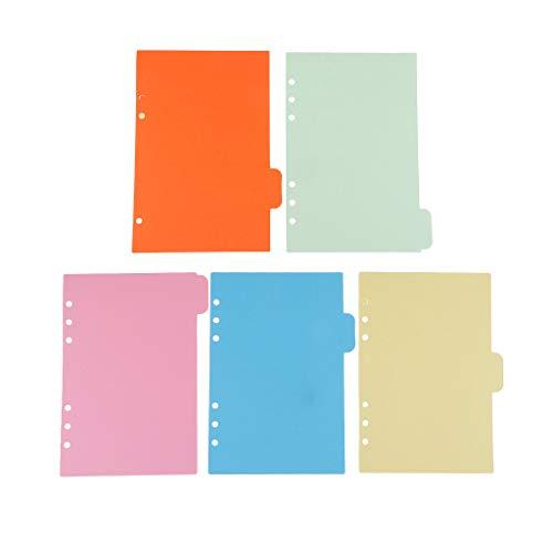 IPOTCH 5 Pezzi Separatore Fogli Bright Divisori Formato A5 Colori Assortiti