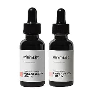 Minimalist Anti Pigmentation Night Kit   Lactic Acid (AHA) Exfoliant & Alpha Arbutin Pigmentation & Dark Spots Removal Face Serum Combo