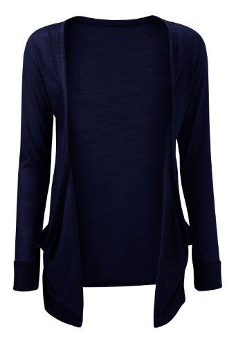 Damen Strickjacke Offen Jersey Einfarbig Tasche Übergrößen Violett