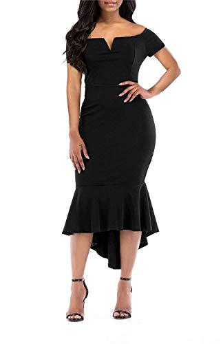 KISSMODA Frauen Meerjungfrau Kleid Büro Arbeit Business Abend Cocktailkleid kurzen Ärmeln schwarz Medium - Damen Abend-formale Kleider