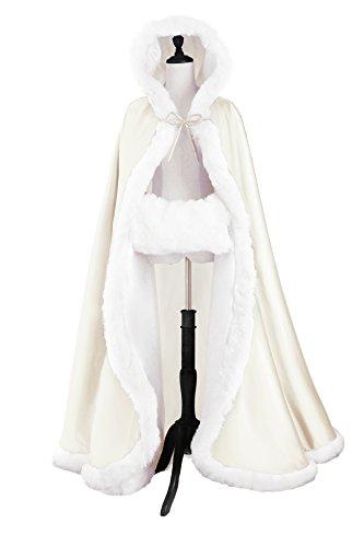 Beautelicate - Mantella da donna/sposa, con bordo in pelliccia, lunghissima, vari colori disponibili Off white Taglia unica